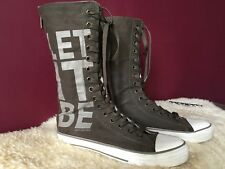 JUICY COUTURE Women's Tall Sneakers Lace-Up Boots color Khaki  LET IT BE  Size U