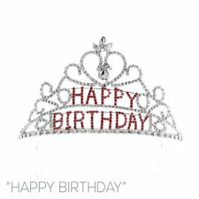 Silver Happy Birthday Crown With Clear Rose Stones ( 60633 )