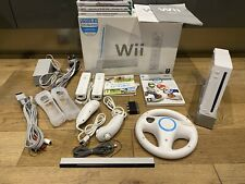 Nintendo Wii Console Boxed Bundle with Mario Kart & Wii Wheel & Wii Sports
