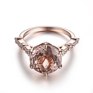 3.5CT Round Morganite Baguette Diamonds 10K Rose Gold Wedding Fine Jewelry Ring