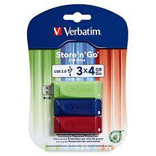 Verbatim 97002  4GB Store 'n' Go USB Flash Drive - 3pk - Red, Green, Blue