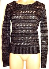 New Takeout M, medium Black & Silver metallic see thru long sleeve sweater top