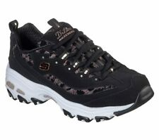 Skechers Dlites Black Shoe Women Sport Casual Comfort Memory Foam Sneaker 149099