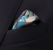 ETON Retrofuture print pocket square 100% Silk Made in Italy Brand New with Tags