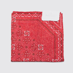 Brunello Cucinelli Pocket Square Red Silk Cotton Blend Print