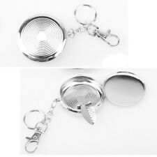 Useful New Portable Pocket Stainless Steel Round Cigarette Ashtray With Keychain