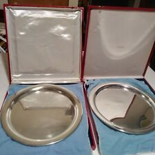 "2 VINTAGE CARTIER 11"" SILVER STAINLESS SERVING TRAY RED BOXes FELT BAGs"