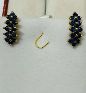 14k Solid Yellow Gold French Clip Earrings  With Natural Round Sapphire4.80GM