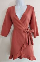 Womens Boohoo Dress NEW wrap style size 12 brown sexy party smart occasion work