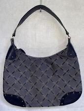 RARE Longchamp Martine Vintage Leather Canvas Hobo Bag Blue