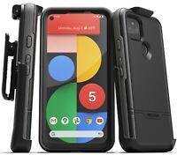 Google Pixel 5 Case w Built-In Screen Protector & Belt Clip Holster - Blue