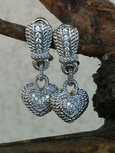 Judith Ripka Dangle Heart Earrings With Pave Diamonique Omega Backs Sterling