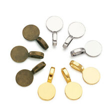 60 Tibetan Alloy Glue-on Bails Round Flat Pad 3-Color Charm Pendant Holders 18mm