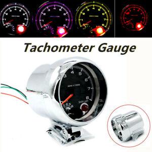 """3.75"""" 7 Colors LED Car Tachometer 0-8000 RPM Fit 12V Petrol Vehicle Shift Light"""
