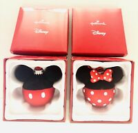 Hallmark Disney Mickey & Minnie Glass Christmas Ball Ornament Set In Box