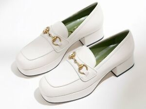 New Authentic Gucci Houdan 15 Platform  Loafer White Eur 37 / US 7