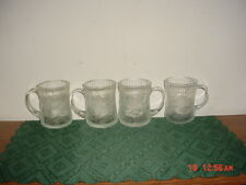 """4-PIECE CRISTAL D'ARQUES """"CRYSTAL"""" FLORAL 3 3/4"""" COFFEE MUGS/PATTERN/FREE SHIP!"""