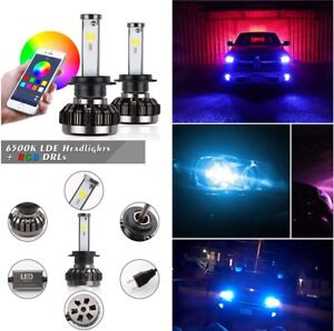 2 Pcs H7 RGB Color Changing LED Headlight Kit Phone APP Controller Light for Car
