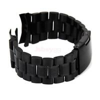 Black Curved End Solid Stainless Steel Watch Band Strap Bracelet 18/20/22/24mm