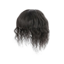 Water Wavy Hair Crown Piece Clip in Middle Part Topper with Flat Fringe Bang