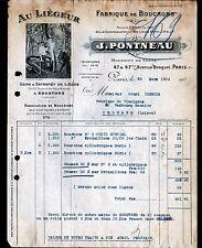 """PARIS (VII°) USINE de SOUSTONS / BOUCHON LIEGE """"J. PONTNEAU"""" illustrée BUCHERON"""