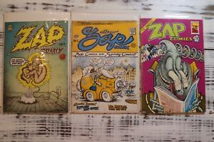 Zap Comics #0, #1, & #6 First, Second, and Third Printing.  Good Condition.