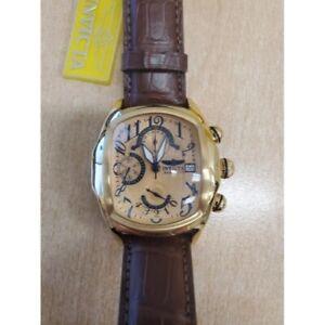 Invicta 12600 Mens Dragon Lupah SWISS Valjoux 7750 Brown Alligator Strap Watch