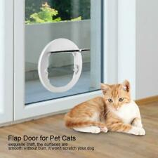 White Transparent Round Plastic 4 Ways Flap Door for Pet Cats & Small Dogs