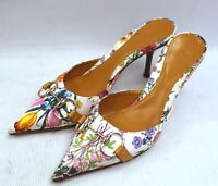 GUCCI Horsebit Floral Satin Pointed Mules Kitten Heels Size 37.5 4.5 - C52
