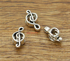 20 Treble Clef Music Note Beads Large Hole European Beads Silver 18x9x6 2268