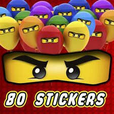 80 x Lego Ninjago Eyes Stickers for Balloons, Bags, Plates, Party Decorations