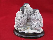 Vintage Penguin Figurine On Wood Base Country Artists England