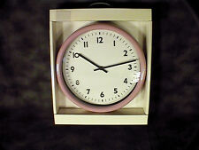 PINK ROUND METAL WALL CLOCK KIDS BATHROOM OFFICE HOME GIRL CONTEMPORARY BLACK