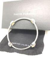 Beautiful David Yurman Sterling Silver Moon Stone Station Bangle Bracelet Sz M