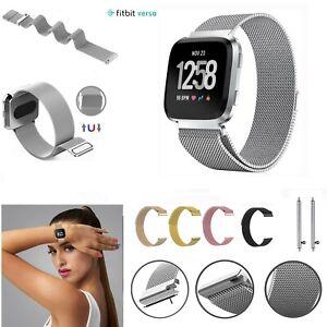Per Fitbit Versa Cinturino Ricambio Milanese Polso Fascia Acciaio Inox Magnetico