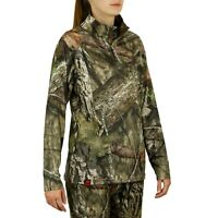 Mossy Oak Women's Camo Hunt Tech 1/4 Zip Shirt