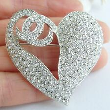 "Wedding 1.97"" Clear Rhinestone Crystal Love Heart Brooch Pin Pendant 04831C1"