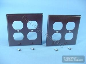 2 Leviton Brown 2-Gang Outlet Cover Duplex Receptacle Plastic Wallplates 85016
