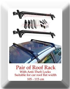 Aluminum CarTop Luggage Roof Rack Cross Bar Carrier Adjustable 105-115cm W/Locks