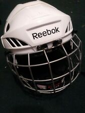 Reebok 3K Youth Large Ice Hockey Helmet Cage Combo Adjustable White Sm-25 Clean!