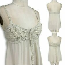 Womens Stone Crochet Baby Doll Cami - With Front Tie Detail - Sizes S-XL