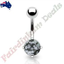 316L Surgical Steel Belly Ring with Prong Set Snow Obsidian Semi Precious Stone