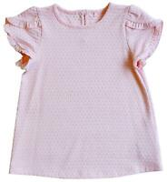 Girls Embossed Pink Frill Cap Sleeve Tunic Summer Fashion Top 2 to 10 Years