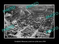 OLD POSTCARD SIZE PHOTO NORTHFIELD MINNESOTA AERIAL VIEW OF THE TOWN c1950