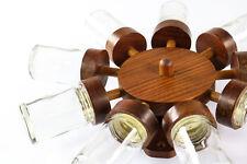 9er Gewürz Rad Teak Holz Rondell Dänemark Vintage Spice Jar Rack 60er 70er Jahre