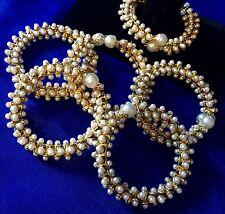 Gold Pearl Mehndi Gajra Bangel Maiyo Bridal Kalira Gana-Indian Wedding Accessory