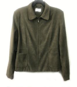 Primark Atmosphere Olive Green Suede Zip-Up Jacket Size 14 UK