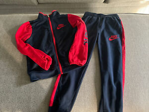 Nike Air Boy 2Pc Jogging Set Tracksuit Jacket Pants Navy Blue And Red New Size 7
