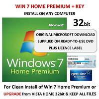Windows 7 Home Premium 32 bit DVD SP1 Full Version & COA License Product Key