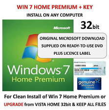 Windows 7 Home Premium 32 bit DVD SP1 Full Version & COA License Product Key